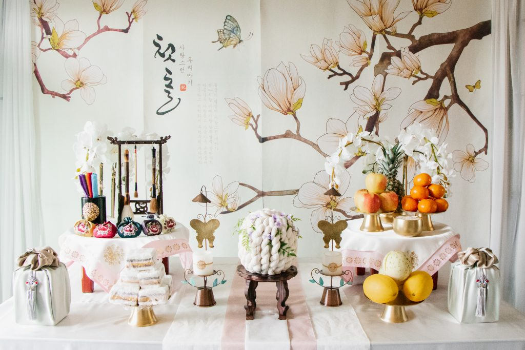Rented traditional Korean Doljabi setup. Check out my 5 best tips for planning your baby's birthday party!